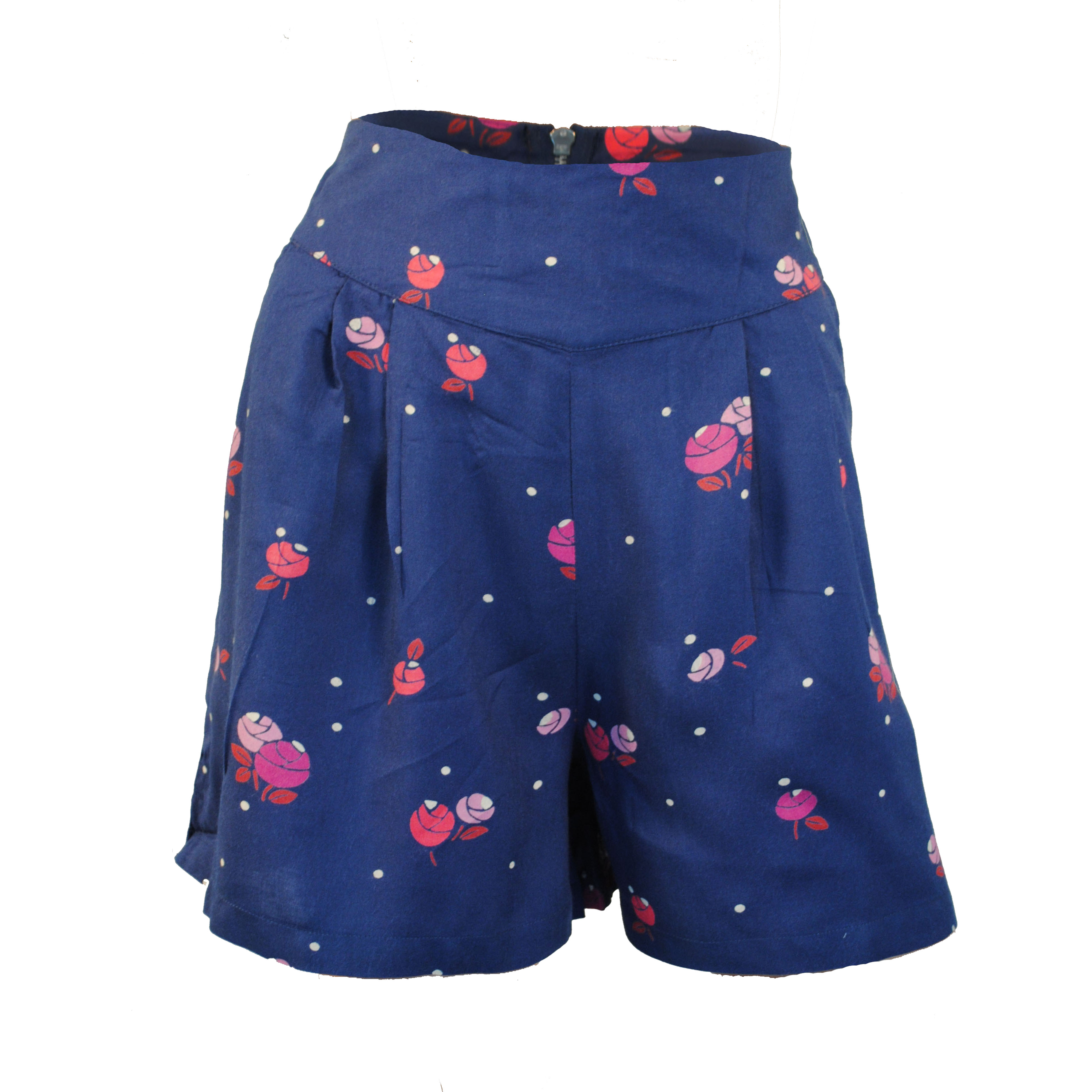 Ladies navy blue floral high waisted culottes shorts with zip ...