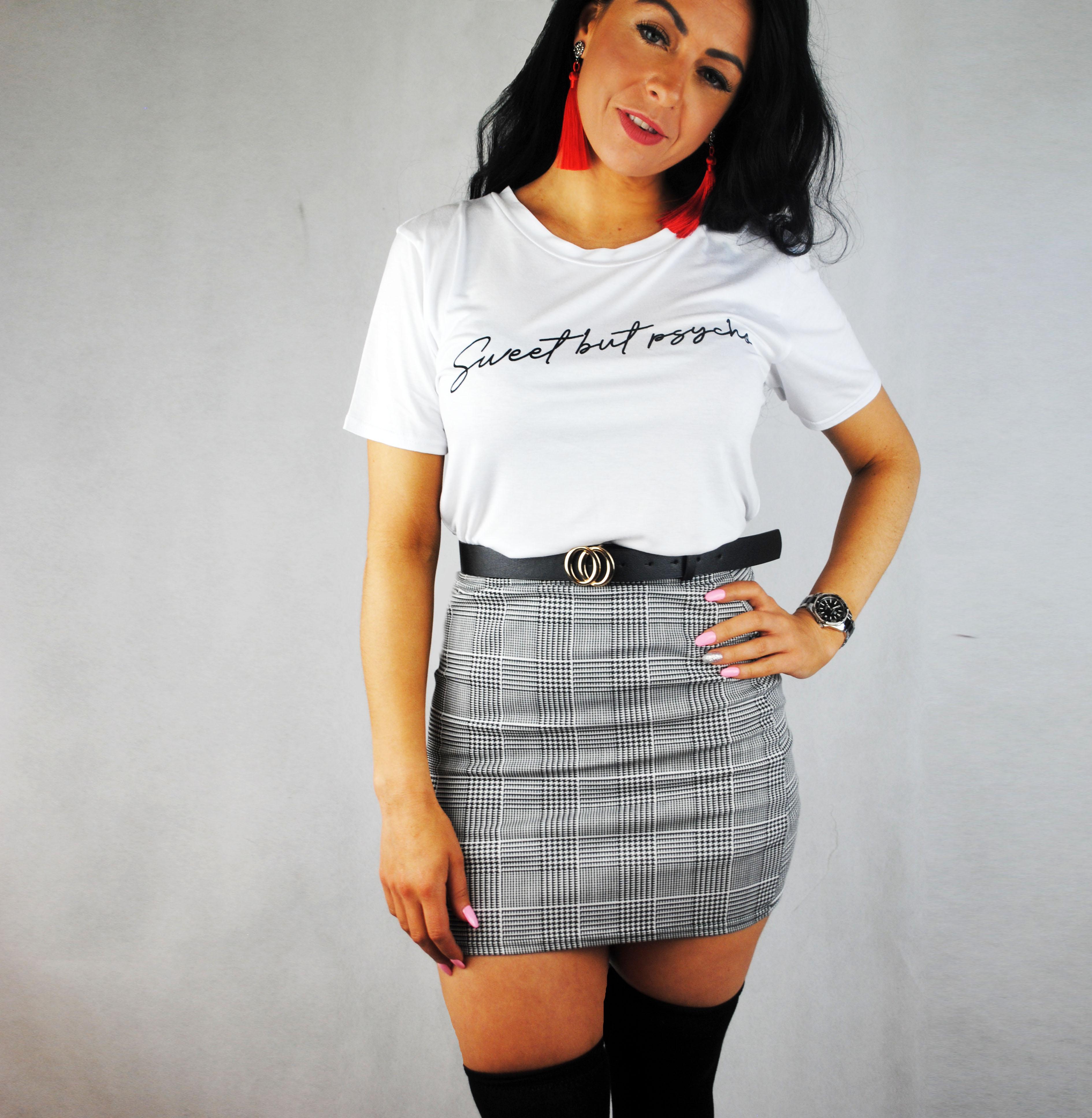 Women Sweet But PSYCHO Slogan Print Top Ladies Round Neck Short Sleeve T-Shirt