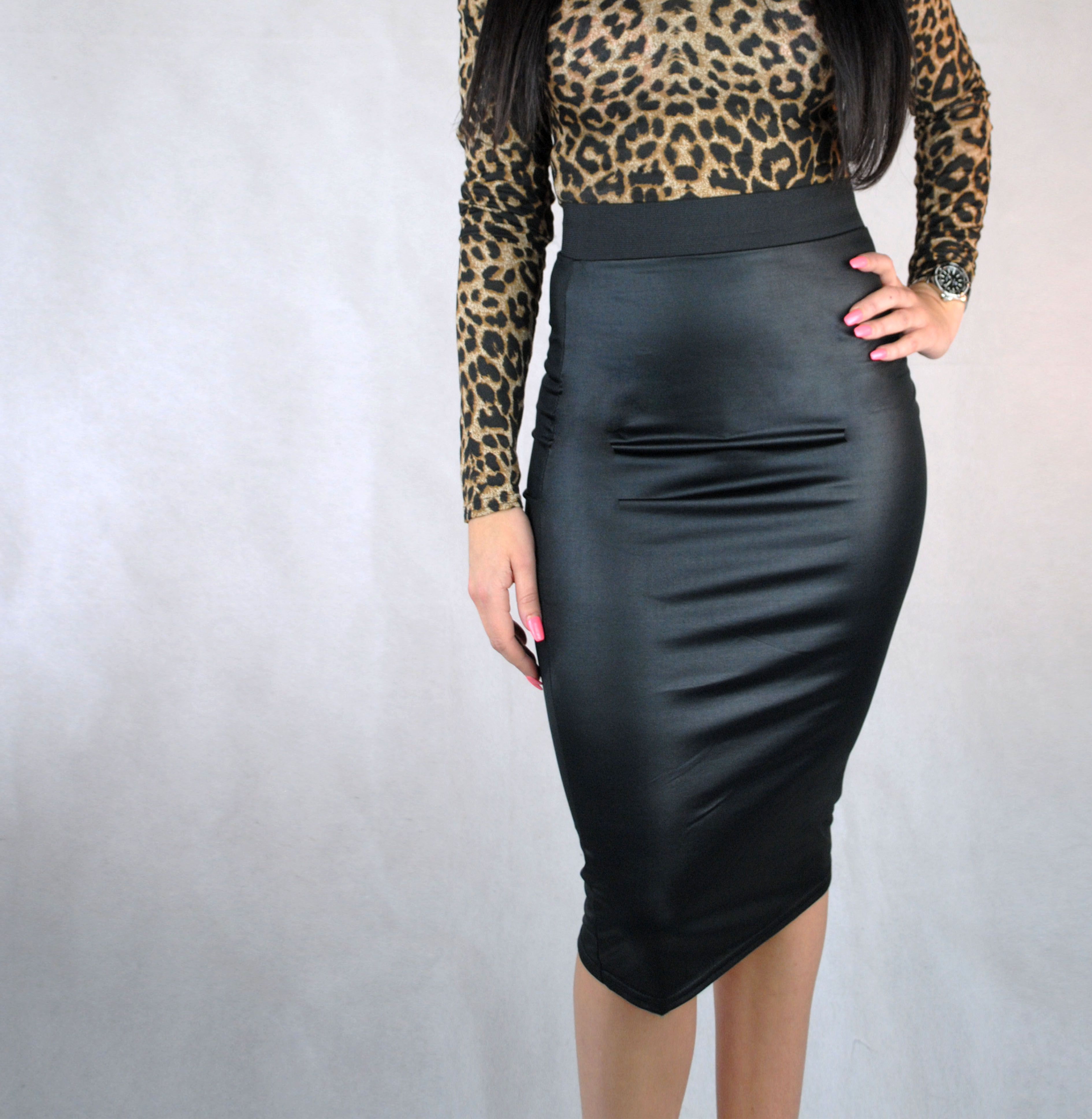 c44b93a2d8 Womens wet look PVC style black bodycon pencil skirt with ...