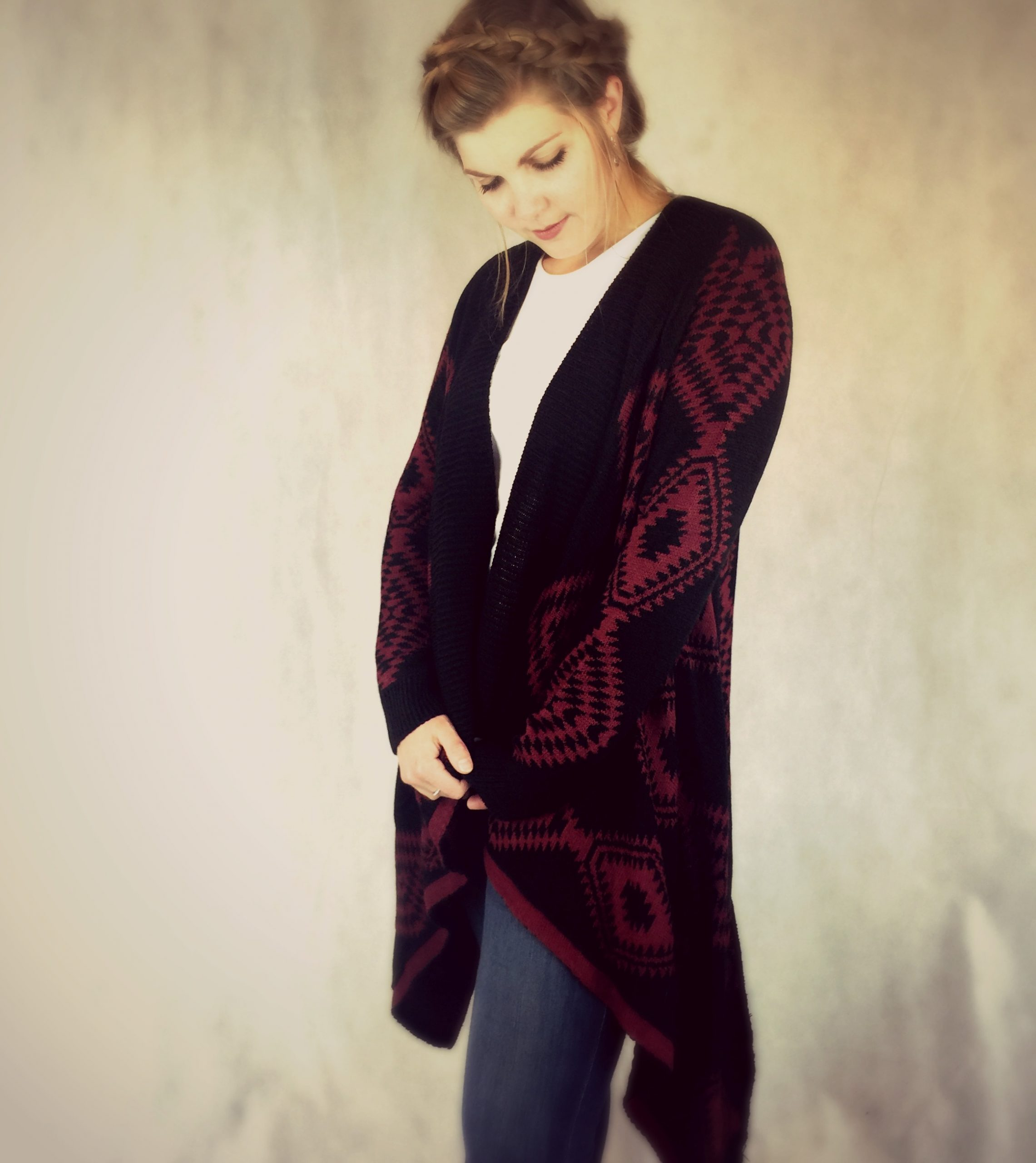 Ladies long length poncho style chunky cardigan in burgundy and black aztec knit