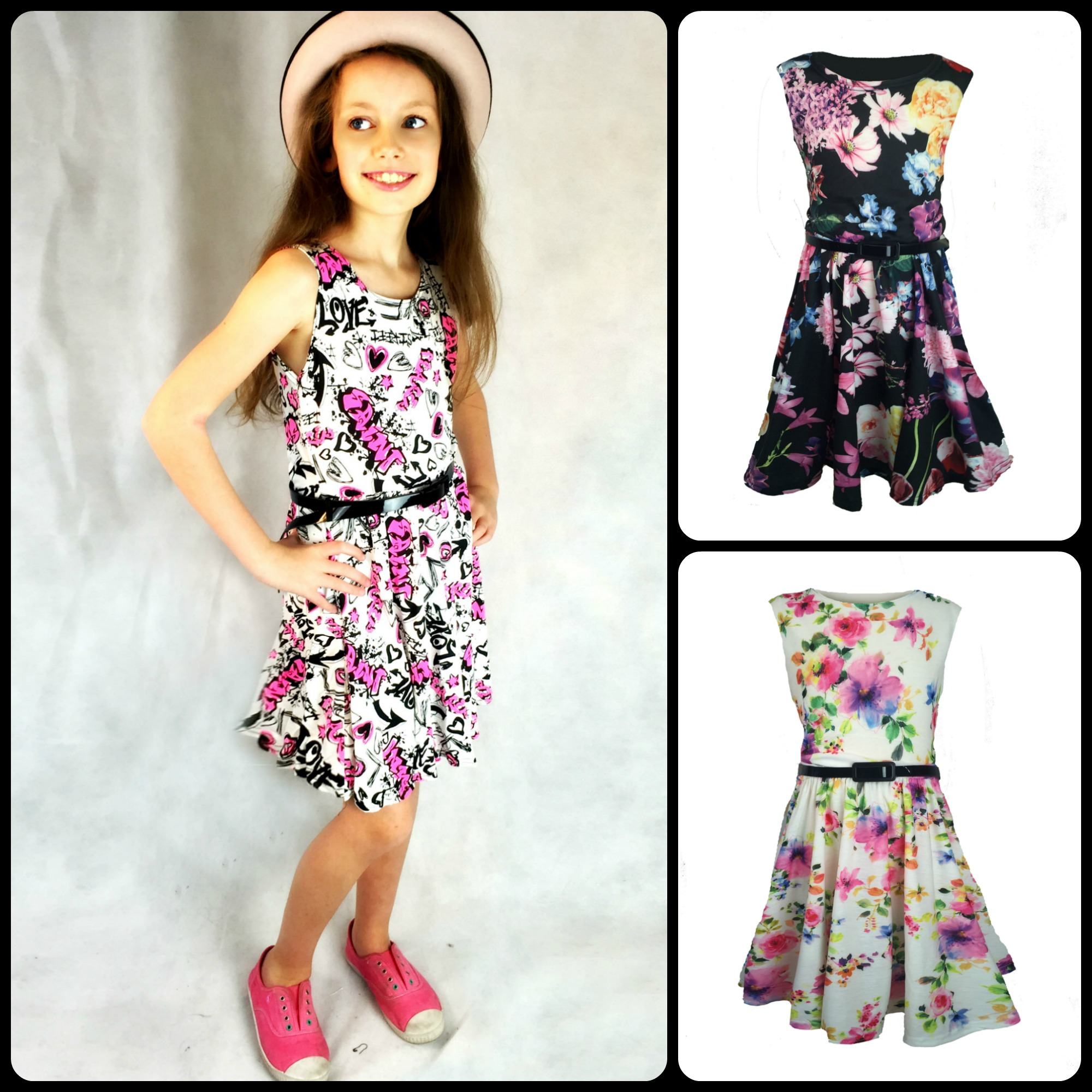 81fcde26c8cb ... Girls knee length skater dress with patent belt, graffiti or floral  print. Sold Out New. PicMonkey Collage6