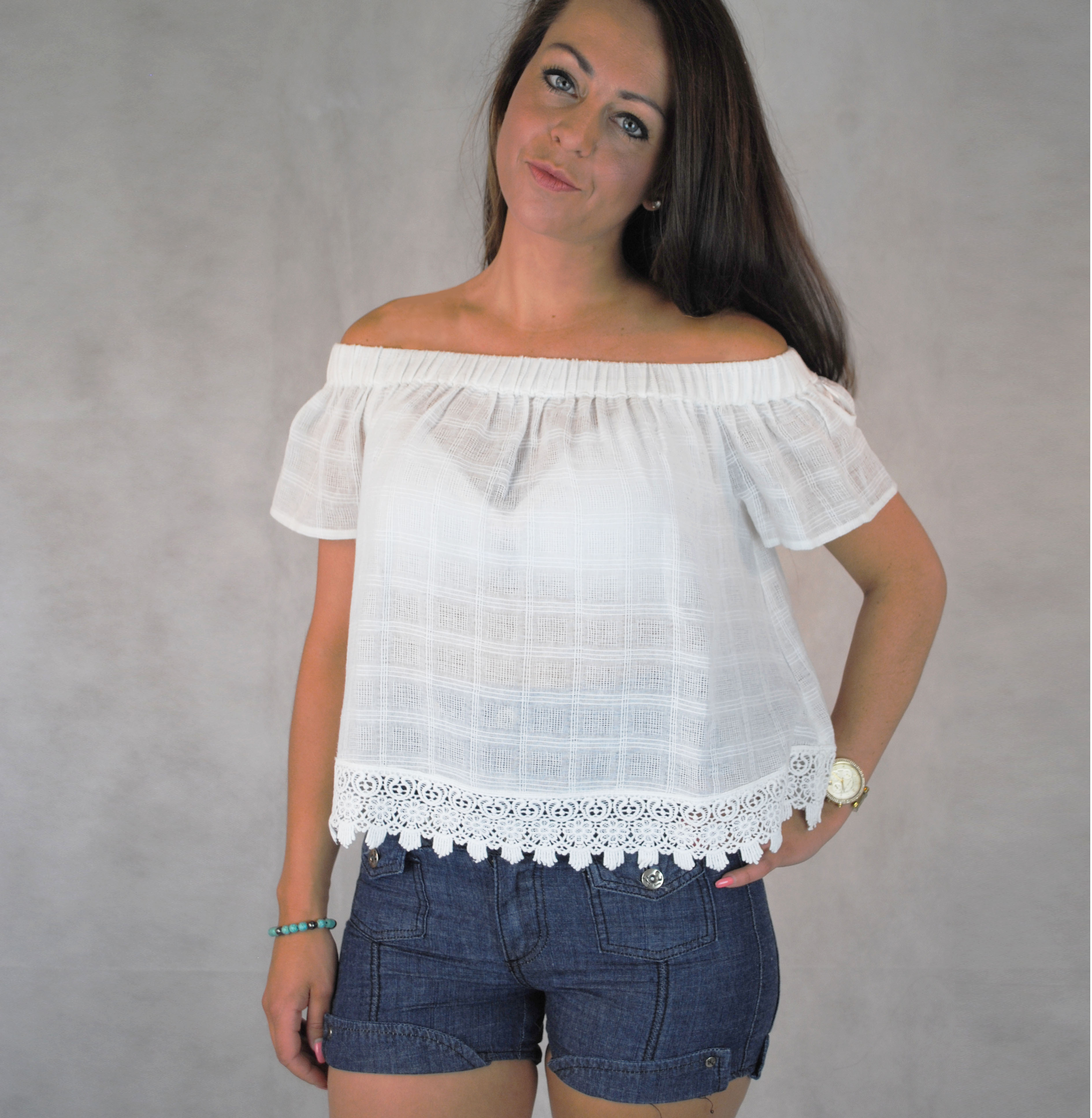 46862e12f885c ... Off the shoulder white cotton gypsy style top with crochet hem. Sold  Out New. DSC 0114