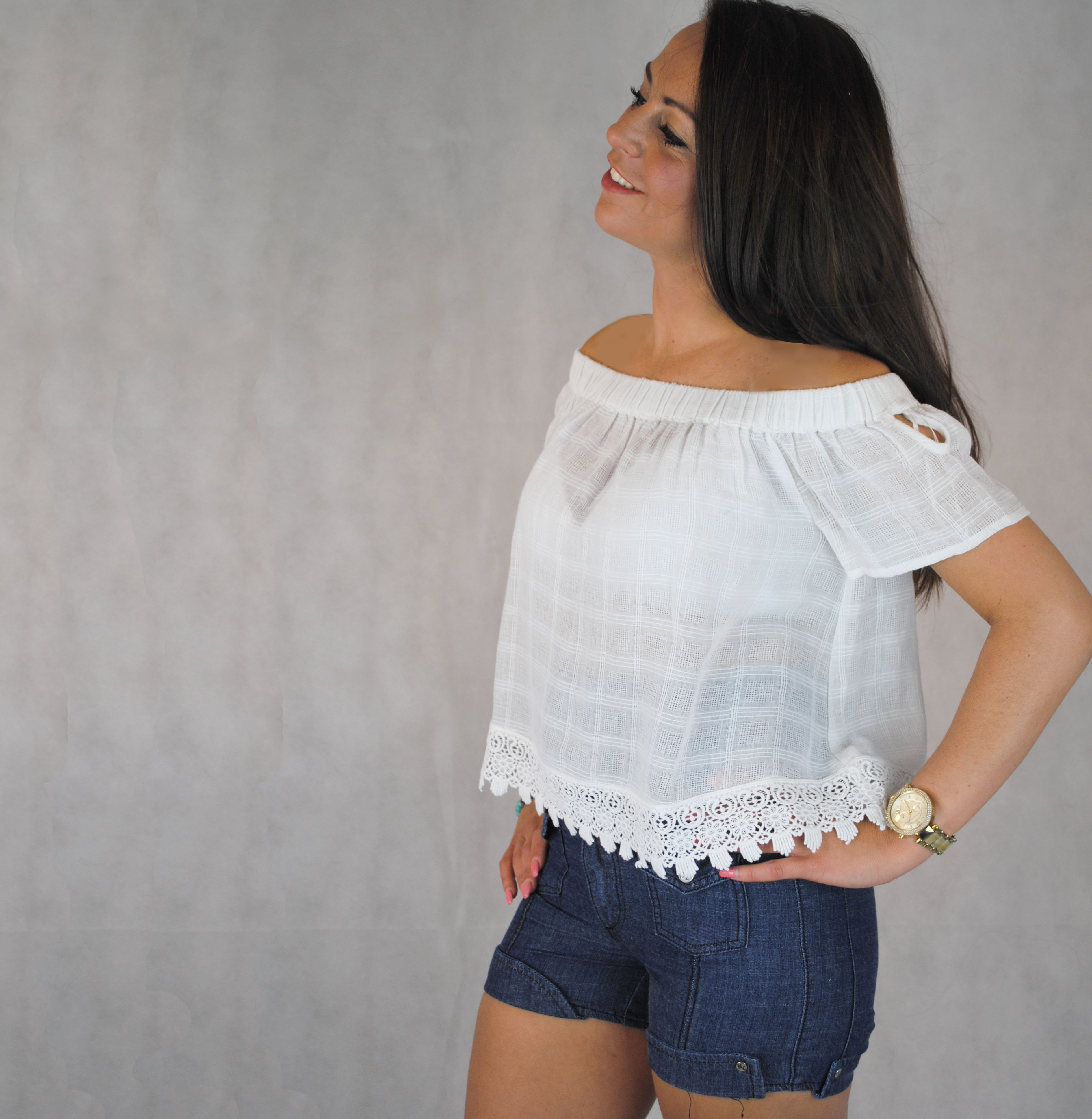 2c38a819a0955 ... Off the shoulder white cotton gypsy style top with crochet hem. Sold  Out New. DSC 0114. Scroll Up. Scroll Down